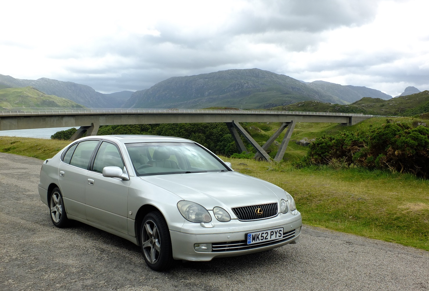 Lexus GS430 next to Kylesku Bridge